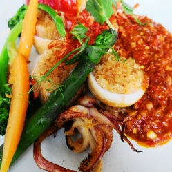 Squid stuffed with glutinous rice