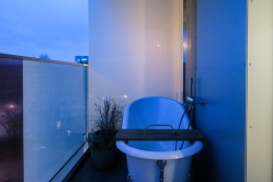 German French inspired design of 25hours Hotel Das Tour balcony.