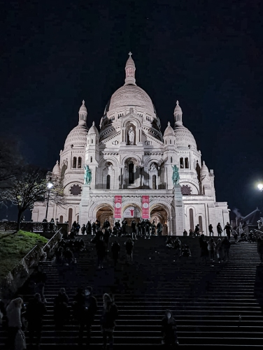 Basilica of the Sacred Heart of Paris night view